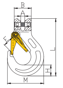 Grade 100 Clevis Sling Hook with Latch (TH-1004