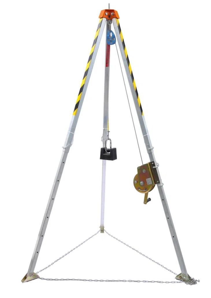 Aluminum Rescue Tripod With Anchor Points And Safety Chain