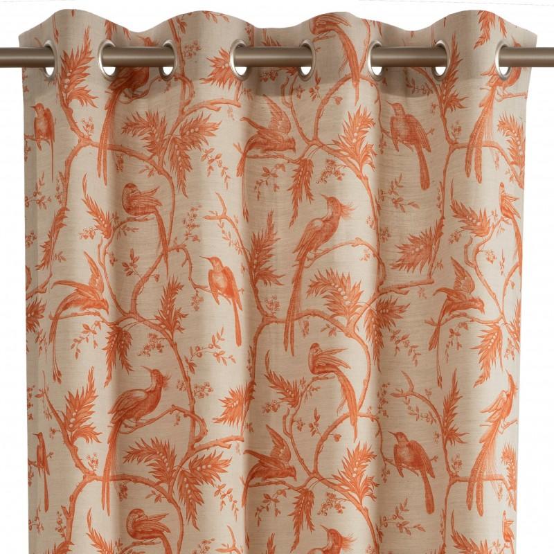 rideau pret a poser a oeillets orange paradise en coton rp 722