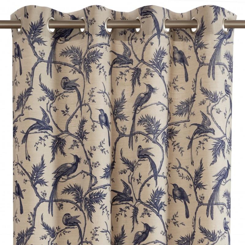 rideau pret a poser a oeillets bleu encre paradise en coton rp 723