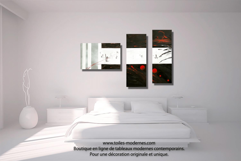 Tableau dessin graphique noir blanc triptyque abstrait panoramique dco minimaliste
