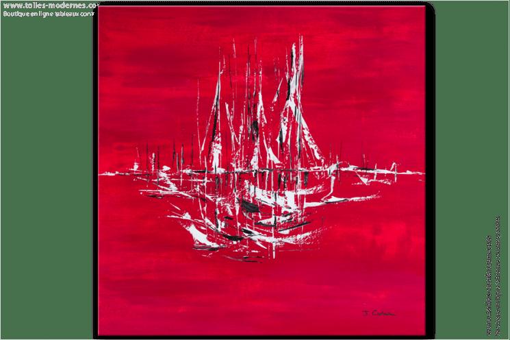 tableau moderne rouge carr tendancetableau contemporain rouge cration unique