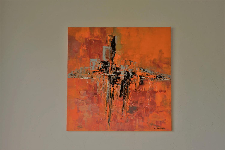 tableau orange abstrait le monde se reveille
