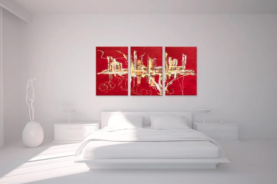 triptyque abstrait rouge panoramique designtableaux contemporains rouge rectangle