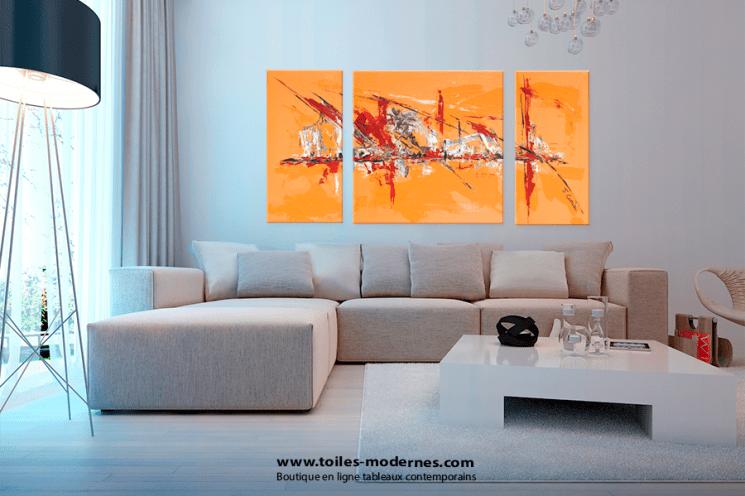 tableau triptyque contemporain orange format vertical