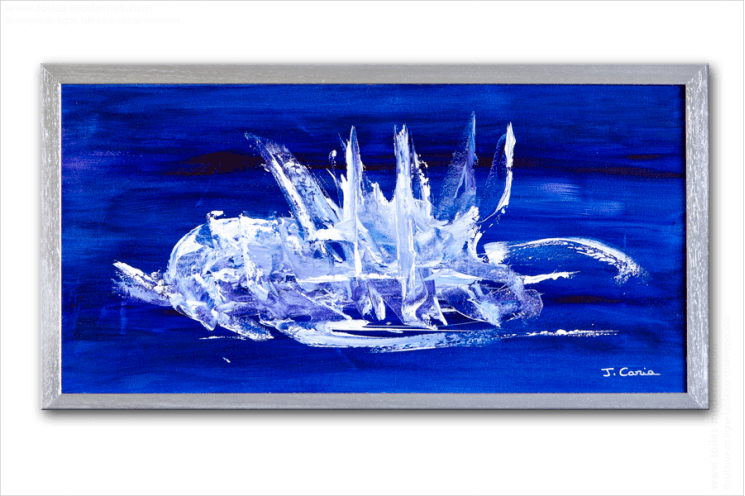 tableau moderne horizontal bleu tableau contemporain bleu panoramique cadre gris metal