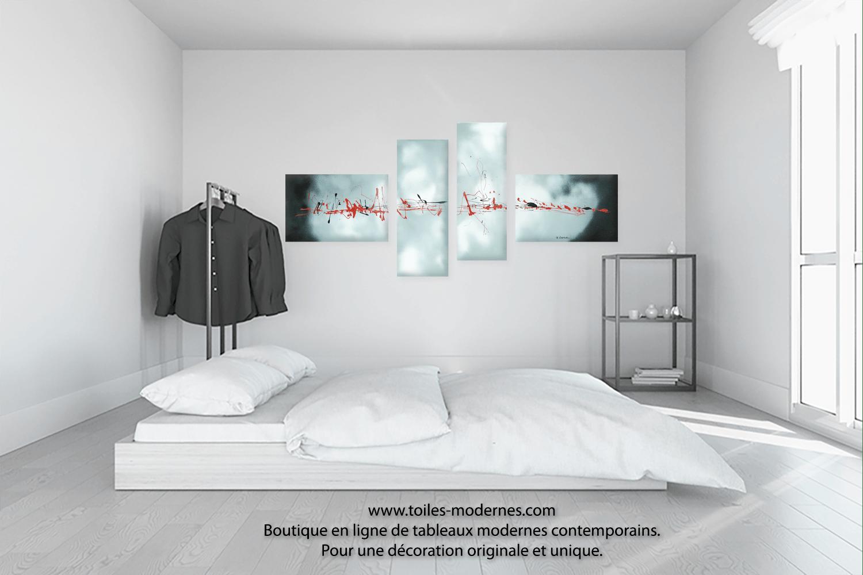 Tableau gris blanc quadriptyque Evasion clestre grand format paysage XXL achat dcoration