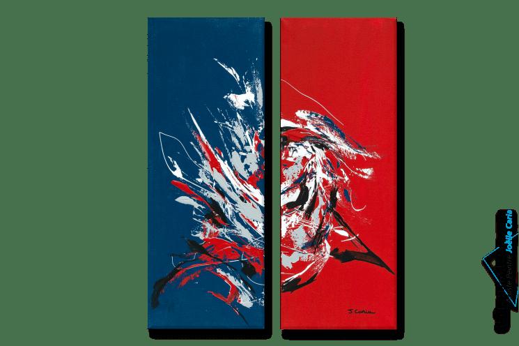Tableau dart moderne triptyque rouge bleu Le grand festival format portrait peinture acrylique