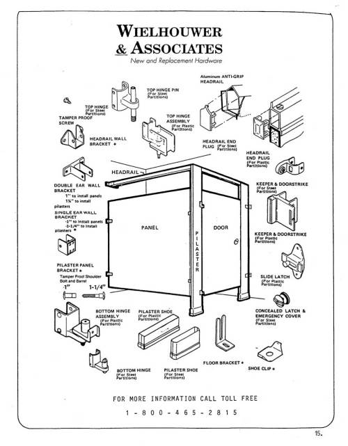 small resolution of toilet partition diagram showing common components and replacement parts