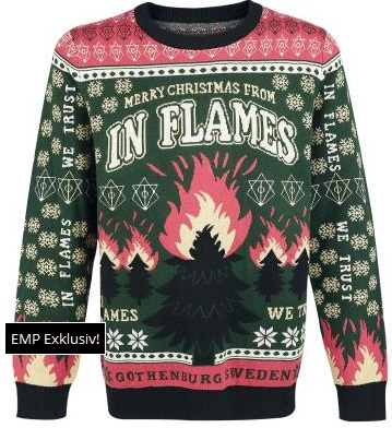 in flames always on the cusp of whats popular 2 years ago have also gotten in on the ugly sweater train congratulations in flames - Heavy Metal Ugly Christmas Sweaters