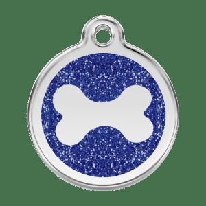 Médaille pour Chien Red Dingo Paillettes Os Bleu Foncé