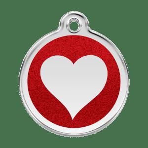 Médaille pour Chien Red Dingo Paillettes Coeur Rouge