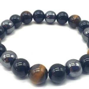 Bracelet Protection Obsidienne Noire, Hematite, Oeil de Tigre