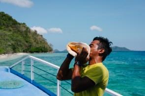 Školjka, s katero nas je Dodo priklical na palubo