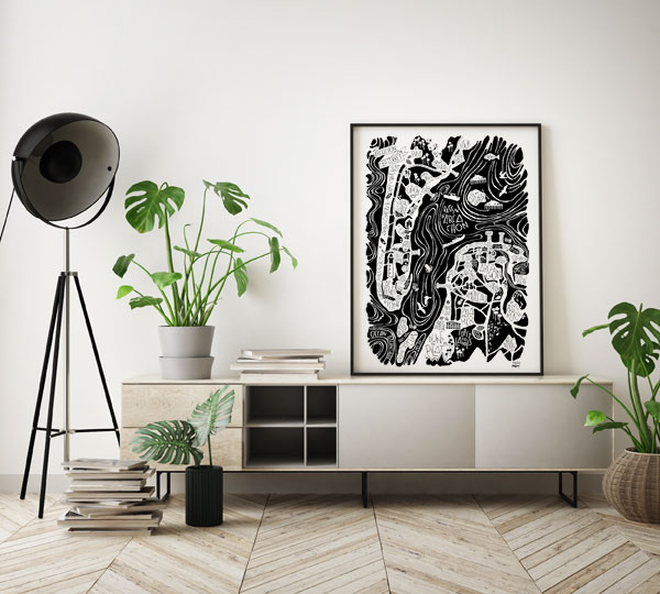 Affiche poster Arcachon Cap Ferret - Tokiko, l'Art du Plan de Ville