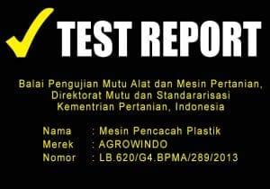 TEST REPORT MESIN PENCACAH PLASTIK