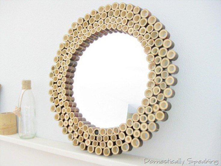 Kerajinan Tempat Cermin Dari Bambu