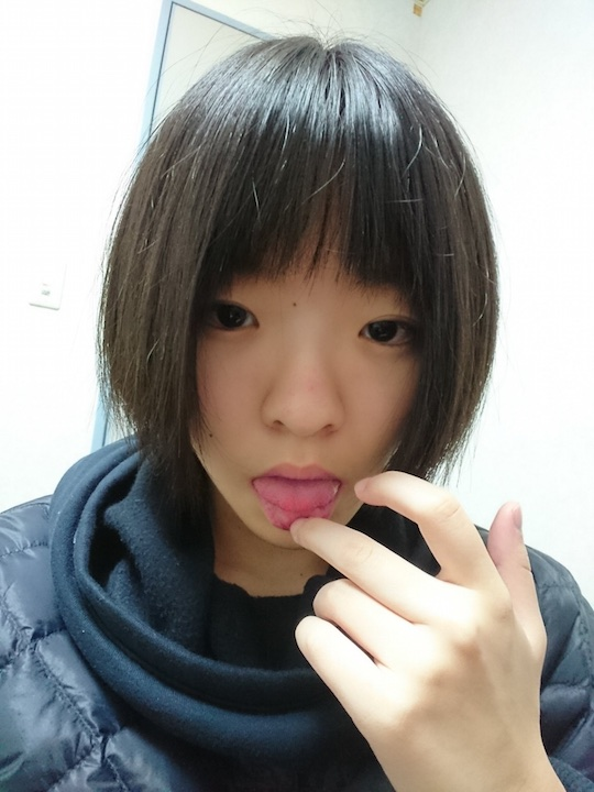 Cute Japanese student with short hair posts OMG nude