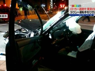 A cab driven by Harukichi Onishi was struck by a van at an intersection in Yodogawa Ward