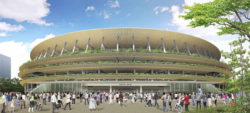 A profile view of a rendering of the winning design for the national stadium for the 2020 Tokyo Olympics