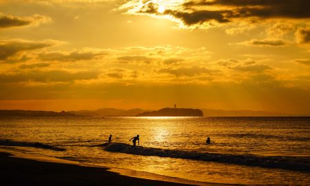 Sunset over Enoshima beach