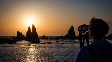 Waking up at 4 a.m. to catch the sunrise over Hashigui-Iwa rock formations