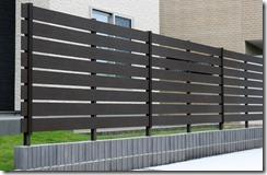 ブロック上樹脂板フェンスアルファウッドブラックブラウン