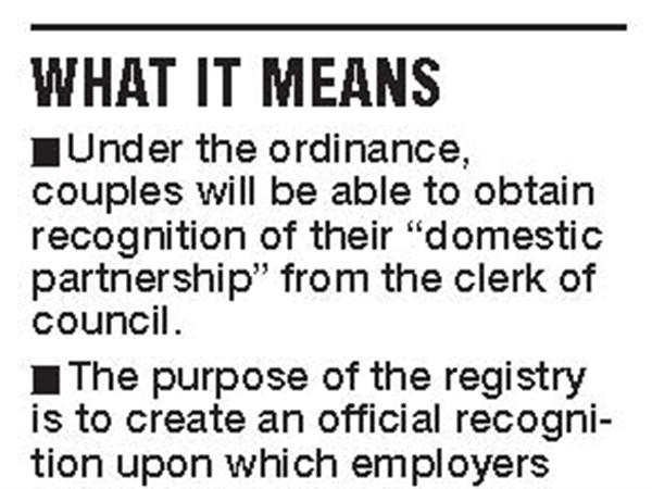 Domestic partnership registry OK'd by Toledo City Council