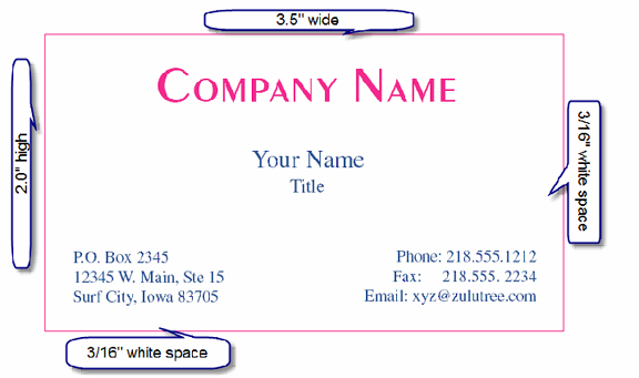 average size of business card - Text