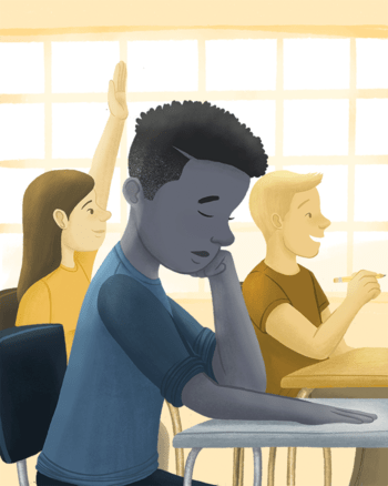 Illustration of a student of color looking pensive under a shade of blue while other students in shades of yellow smile and look to the right.