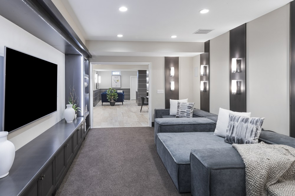medium resolution of home theater room in a basement