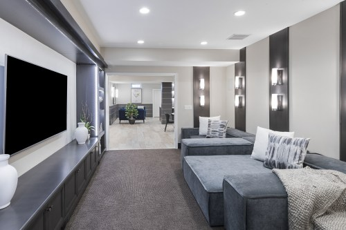 small resolution of home theater room in a basement