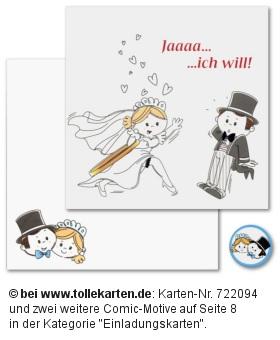 Lustige Comic Hochzeitseinladung  Einladungskarten