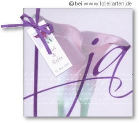 Einladungskarte zur Hochzeit mit der Calla: