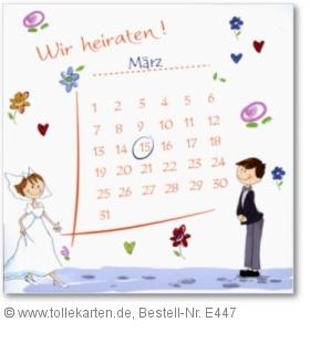Lustige Einladung Hochzeit mit Kalender: