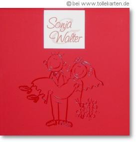 lustige Hochzeitskarten mit Comic-Brautpaar: