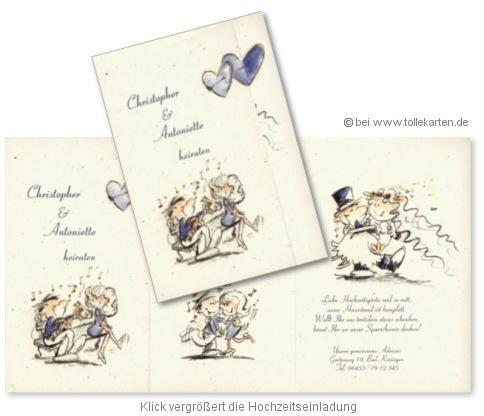 Lustige Einladungskarte zur Hochzeit