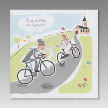 Comic Hochzeitseinladung Brautpaar fhrt Fahrrad