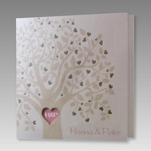 Schne Einladung zur Hochzeit mit dem Baum der Liebe