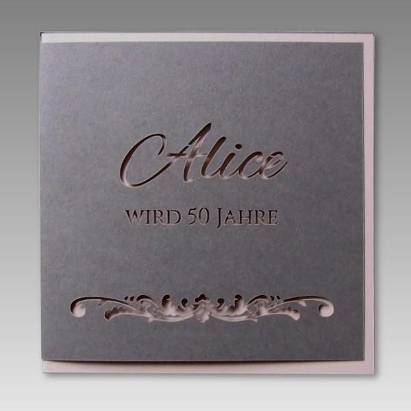 Elegante Einladungskarte zum 50 Geburtstag mit besonderem