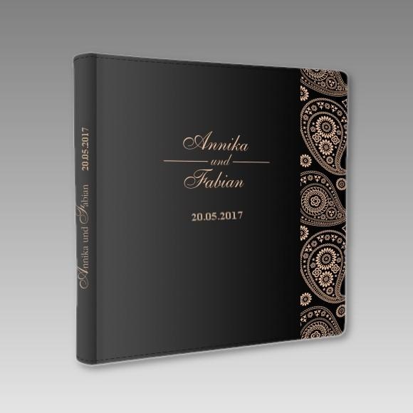 Edles Foto oder Gstebuch zur Hochzeit schwarz  bronze