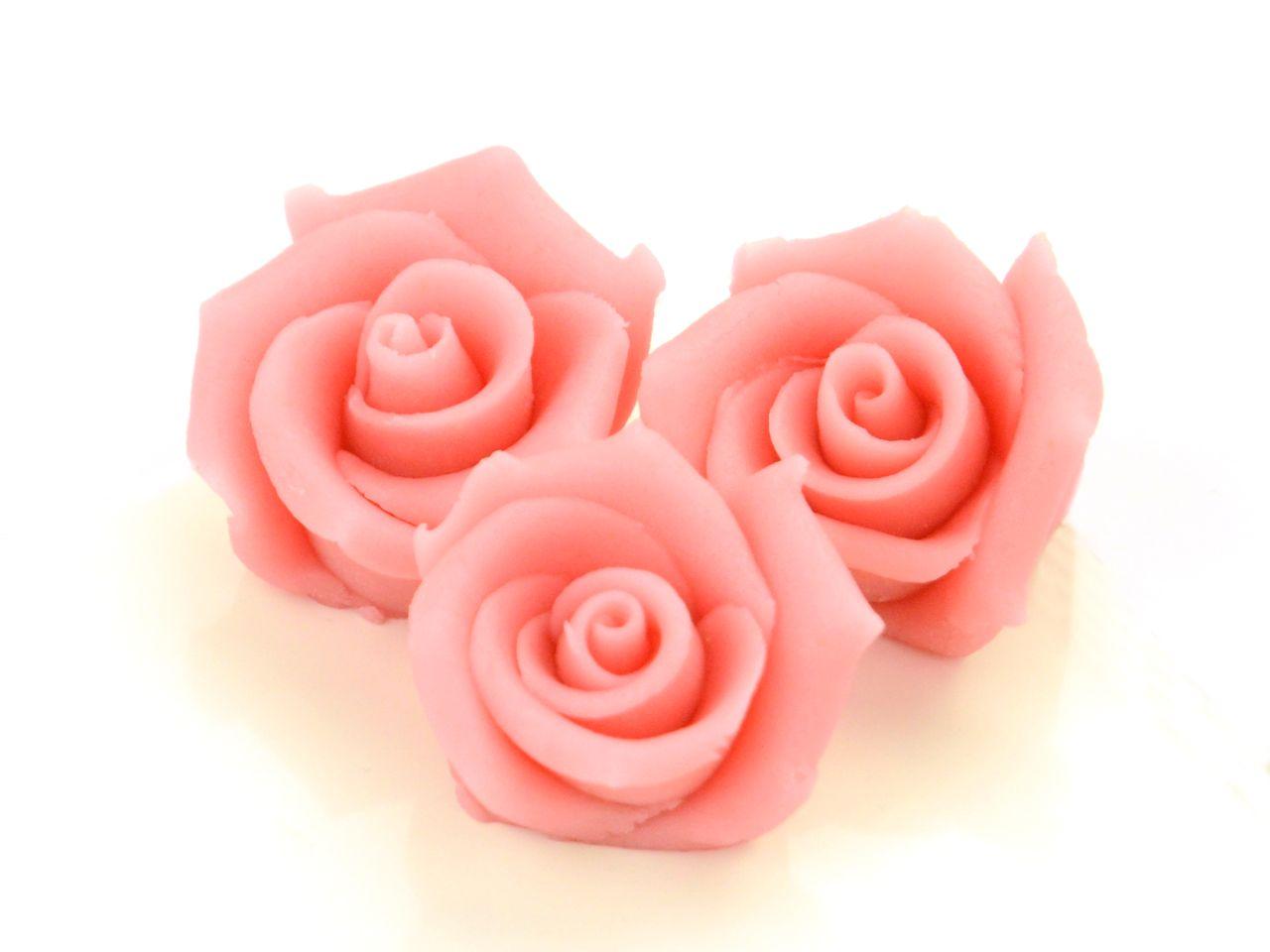 MarzipanRosen mittel rosa 4 Stck  Rosen Marzipan