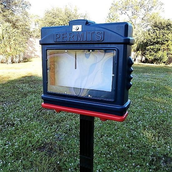 EZ Permit Box w/Window, Lock and Post & Post Spike Blue and Red