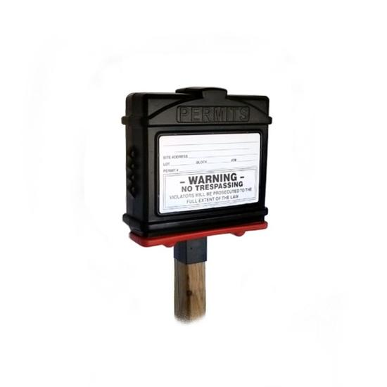 EZ Permit Box w/4x4 Post Adapter Black and Red