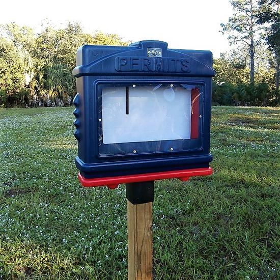 EZ Permit Box w/Window, Lock & 4x4 Post Adapter Blue and Red