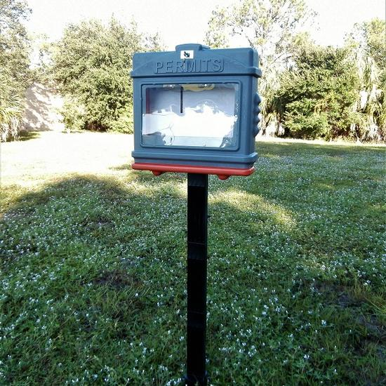 EZ Permit Box w/Window, Lock and Post & Post Spike Gray and Orange