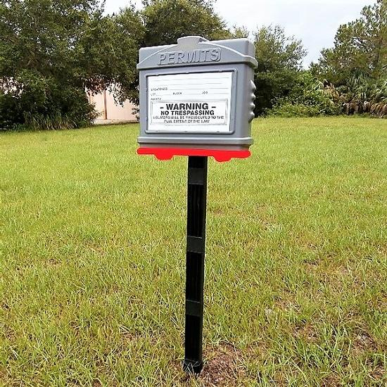 EZ Permit Box w/Post & Post Spike Gray and Red
