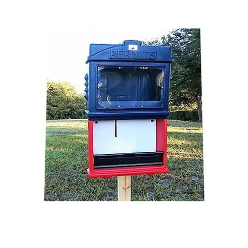 EZ Permit Box w/ Window & Lock Blue and Red