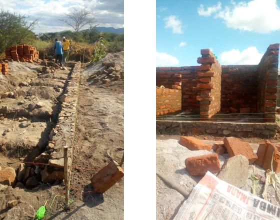 Erstellung der Fundamente und erstes Mauerwerk