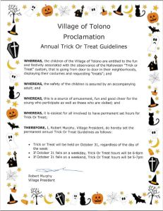 2021 Trick-Or-Treat Information